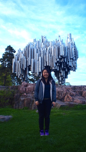 With the monument dedicated to Jean Sibelius in Helsinki, Finland